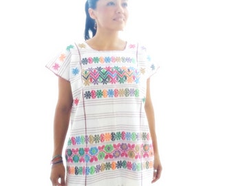 Colorful Handwoven 1970s Oaxacan Embroidered Fringe Huipil-Mini Dress