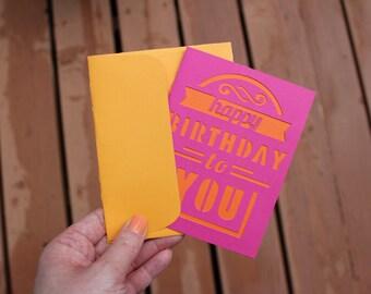 Homemade Pink and Orange Happy Birthday Card