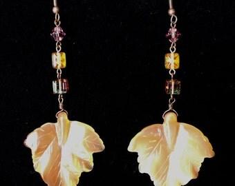 Golden Copper Leaf Earrings