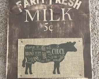 Rustic farm fresh milk sign