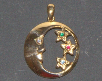 Pendant 18 k Crystal gold-plated star and moon. 18 k gold plated moon and stars with crystals by ZRC half the price
