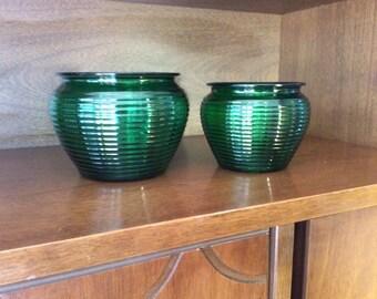 Vintage green glass vases, set of 2