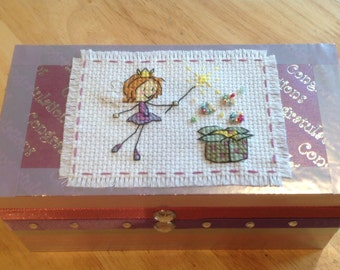 Jewellery  or trinket box cross stitched and hand decorated could personalise