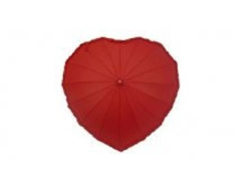 Heart Shaped Frilly Umbrella In Red, Hot Pink or Ivory