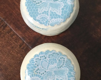 2 inch shabby chic French country blue lace distressed cabinet dresser drawer knobs pulls