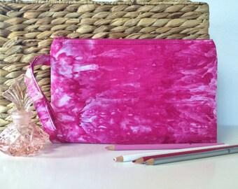 Hot Pink Wristlet // Fuchsia Clutch // Tie Dye Handbag // Shibori Purse // Colorful Wristlet