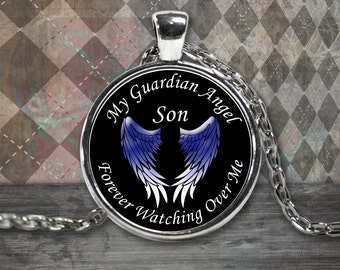 Guardian Angel Necklace - My Son is my Guardian Angel Pendant - Remembrance Necklace - Memorial Jewelry Necklace Son - Son Angel Necklace