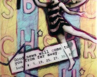 "Original collage- ""Good News Fairy"""