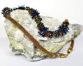 Hand Beaded Necklace in Shades of Blue, Purple, and Gold