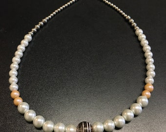 Peach White & Silver Necklace Lobster Claw Clasp