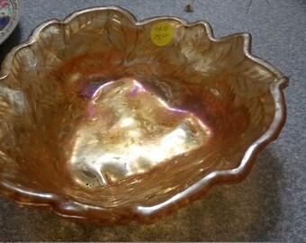 Marigold Carnival Glass candy dish