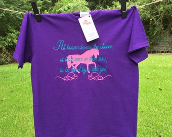 Little Girls & Horses-Girls-Horses-Equestrian-Cowgirl-Present-Gift-Birthday Present-Horse Tshirt-Kids-Childrens