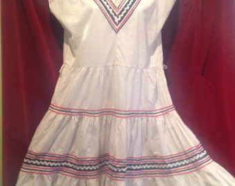 1950s Mexican Dress - White cotton /  Patio Squaw Dress / Cow Girl Dress
