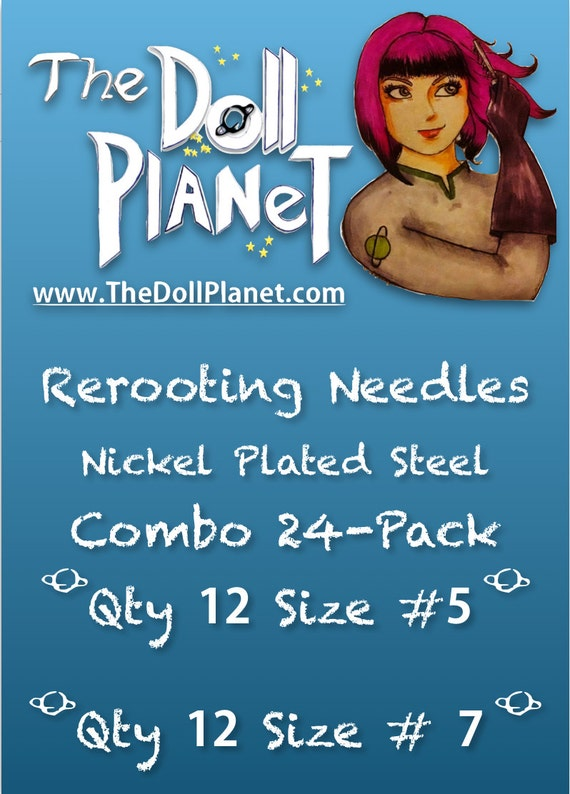24 Pack Combo Rerooting Needles #5 and #7 Nickel Plated Steel for Rerooting Customizing Dolls & My Little Pony Intl Ship