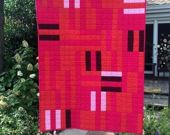 Handmade Modern Throw Quilt - Pink & Red 100% Cotton Fabrics