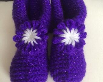 Kids Purple Sparkle Flower Slippers