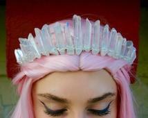 The Nomi Mermaid Crown - [Polished Angel Aura Clear Crystal Quartz Crown / Tiara]