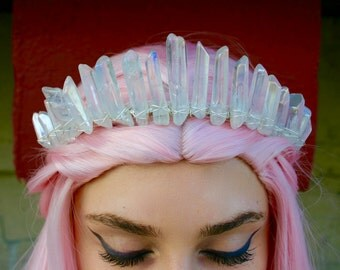 The Nomi Mermaid Crown - [Polished Angel Aura Clear Crystal Quartz Crown / Tiara] Bridal Crown, Bridal Headpiece