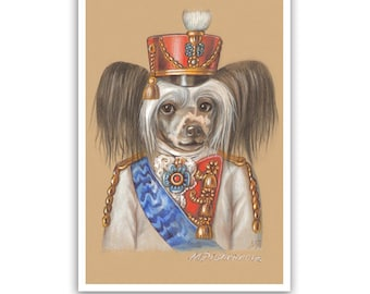 Chinese Crested Dog Art Print - the Cavalryman - Dogs in Clothes - Military Art - Pet Kingdom by Maria Pishvanova