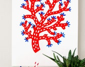 Coral screenprint red/blue