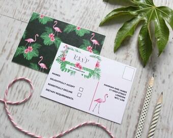 Hello Flamingo Wedding RSVP A7 Postcard, Tropical Wedding RSVP, Destination Wedding RSVP