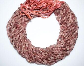 Natural Strawberry Quartz Rondelle Beads 13 Inch Strand ,Strawberry Quartz Faceted Rondelle Beads , 4.25 mm - MC664