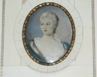 A watercolour of a lady in Regency Costume