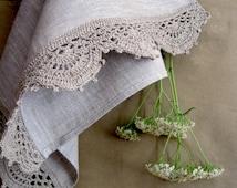 Linen tea towels Linen grey towels Linen kitchen towels Set of 2 Rustic towelsDish towels Crochet Tea towels Fabric towels Linen dishcloth