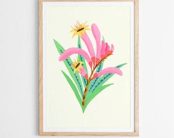 Kangaroo Paw Flower Art Print / Australian Flora / Giclee Print / Poster / Flower Print / Native Flora