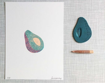 Avocado 'handprinted 3 color linocut print'