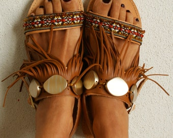 "Ethnic sandals/ Tribal sandals/ Handmade decorated sandals/ Hippie sandals/ Leather Sandals/ Boho Flats/ Fringed sandals ""MACHU PICCHU"""