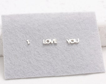 I LOVE YOU Tiny Letters Stud Earrings-Set of 3