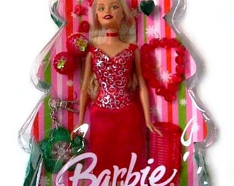 Barbie Holiday Wishes Gift Set, CHRISTMAS BARBIE DOLL, ponytail holder, comb, mini barrettes, bracelet, heart ring, key-chain, notepad.