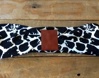 Leather Accented Headband - Bold B/W Print
