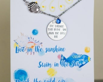 Live in the Sunshine Necklace - Nautical - Seashell - with a Note Card - Ready to Gift  - Custom Nautical Necklace - Inspirational Necklace
