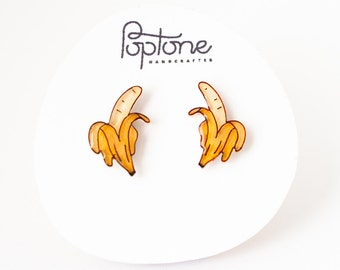 Banana Earrings, banana fruit studs, banana jewelry, yellow kawaii earrings, bananas