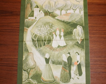 Decorative vintage retro Wall hanging Tapestry textile art: people on their way to church. Designed by Ilse Claeson Roempke, Sweden