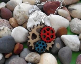 Wood Tri Gear Necklace