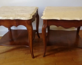 French Provincial Night Stands  Marble topped   End Tables  Marble Tables    French Provincial    French Country