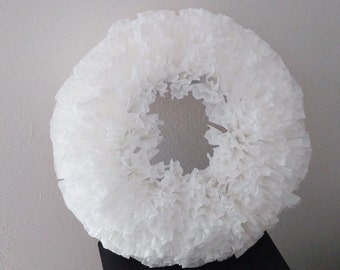 Coffee Filter Wreath, White Wedding Wreath, Rustic Decor, Paper Wall Hanging, Ruffled Wreath, Cottage chic door hanging, Paper decoration