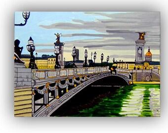 Alexander III bridge, acrylic paint by Jotawi