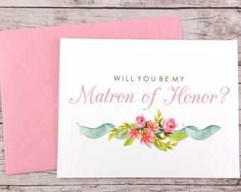 Will You Be My Matron of Honor Card, Matron of Honor Proposal Card, Floral Wedding Card, Matron of Honor Gift, Bridal Party Card - (FPS0019)