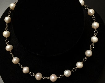 Hand Wrapped Wire Freshwater Pearl Necklace
