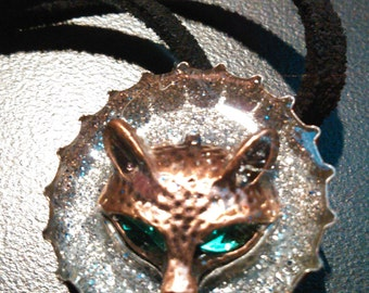 Fox with Emerald Eyes Bottle Cap Pendant on Suede Cord
