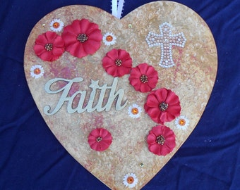 Faith Heart in Gold and Red