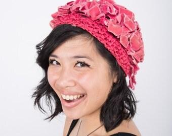 1970s Woven Pink Velvet ribbon hat / Tam