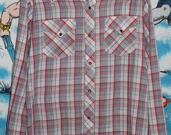 Vintage 70's GWG Western Pearl Snap Plaid Rockabilly Shirt
