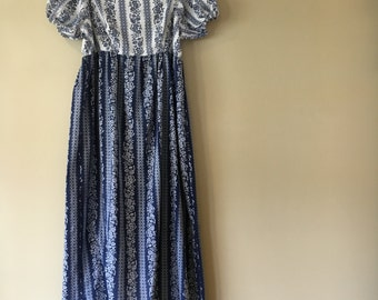 Vintage 1970's Handmade Blue and and White Floral Off-The-Shoulder Dress