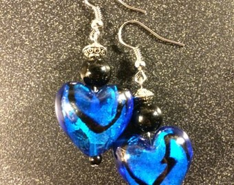 Royal Blue and Black Heart Earrings