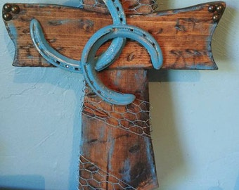 Bless This Farm Rustic Wooden Cross